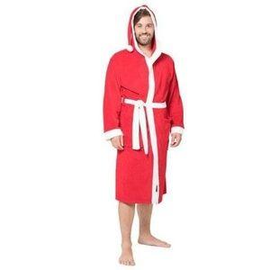 Men's Red Christmas Hooded Winter Santa Robe